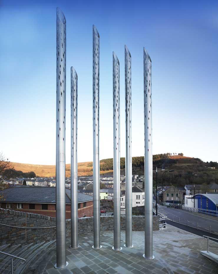 Abertillery Gateway Spires Wales Stainless Steel Public