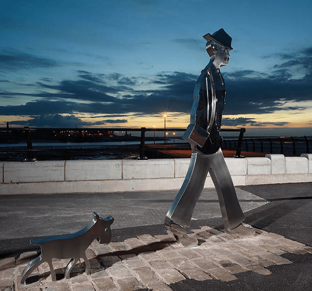 Lowry Inspired Man and his Dog in Dusk